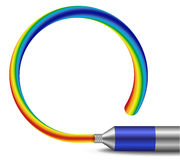 Tube of rainbow colored paint vector illustration. On white background Royalty Free Stock Images