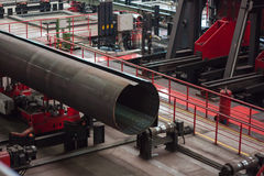 Tube Rolling plant. Forming flat tubular blank into a cylindrical royalty free stock photos