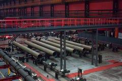 Tube Rolling plant. Modern Tube Rolling plant. White metallurgy stock photography
