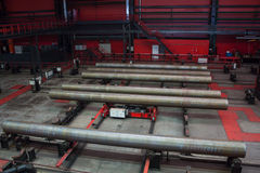 Tube Rolling plant. Modern Tube Rolling plant. White metallurgy stock image