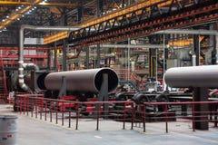 Tube Rolling plant. Modern Tube Rolling plant. White metallurgy royalty free stock photo