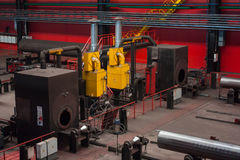 Tube Rolling plant. The plot is semi-automatic welding of longitudinal pipe welds royalty free stock image