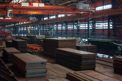 Tube rolling plant. Technological steel sheets on the tube-rolling plant stock image