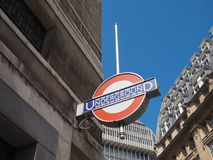 Tube station in London. LONDON, UK - CIRCA JUNE 2017: Tube station roundel sign Stock Photography