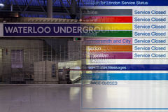 Tube Strikes. Composite showing a closed Waterloo Underground station overlaid with a service closed message for all lines. Taken during the London Underground Stock Photos