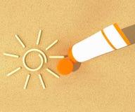 Tube of sunscreen on beach sand Stock Photos