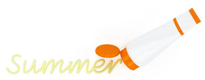 Tube of sunscreen with a painted summer cream Stock Photography