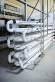 Tube System for Winemaking. White tube system at winemaking factory Stock Photos