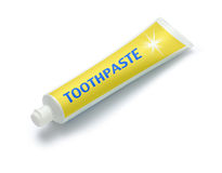 Tube of Toothpaste. A tube of toothpaste isolated on a white background Stock Photo