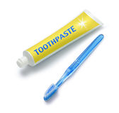 Tube of Toothpaste And Toothbrush royalty free stock photography