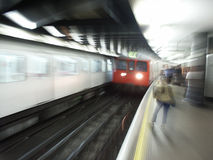Tube Train. London Underground train coming into station Royalty Free Stock Photo