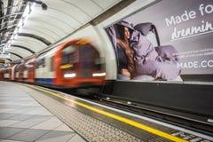 Tube train arriving Stock Image