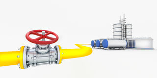 Tube with valve. Yellow tube with red valves and oil factory Stock Photo