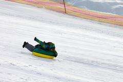 Tubería de la nieve en estación de esquí Fotos de archivo