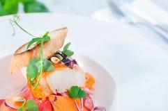 Tubería de los pescados del restaurante con la ensalada del papper en una tabla Fotos de archivo libres de regalías