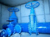 Tubería del suministro de agua, compañía del abastecimiento de agua Shaf concreto subterráneo Fotografía de archivo