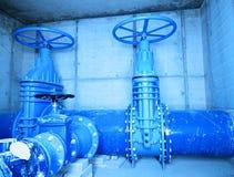 Tubería del suministro de agua, compañía del abastecimiento de agua Shaf concreto subterráneo Foto de archivo libre de regalías