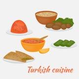 Tubería y acompañamientos comunes, dolma, kisir, ezogilin, gozleme y kofte Ensalada turca de la lenteja, chuleta, sopa, pan y gra libre illustration