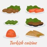 Tubería y acompañamientos comunes, dolma, kisir, patlican, gozleme y kofte La ensalada turca de la lenteja, chuleta, pan, rellenó ilustración del vector