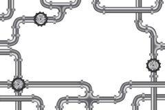 Tuberías con la válvula y las porciones de espacio de la copia Imagenes de archivo