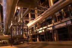 Tuberías en la central eléctrica Imagenes de archivo