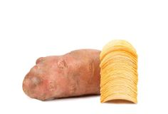 Tuber of potato and stack chips. Royalty Free Stock Photos