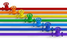 Tuberías del arco iris con las válvulas Imagen de archivo