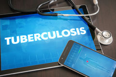 Tuberculosis (infectious disease) diagnosis medical concept. On tablet screen with stethoscope Royalty Free Stock Photos