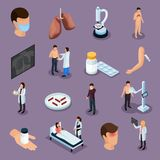 Tuberculosis Prevention Icons Set. Tuberculosis prevention isometric icons set with health symbols isolated vector illustration royalty free illustration