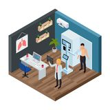 Tuberculosis Prevention Isometric Concept. With lungs test symbols vector illustration stock illustration