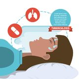 Tubereculosis concept design. Tuberculosis infographic design with avatar woman sweating over white background, colorful design vector illustration Stock Photos