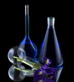 Tubes à essai avec le liquide bleu photos libres de droits