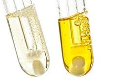 Tubes à essai chimiques avec le liquide organique dedans Photographie stock