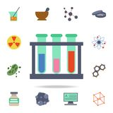 tubes à essai colorés sur une icône de support Ensemble détaillé d'icônes de la science colorée Conception graphique de la meille illustration de vecteur