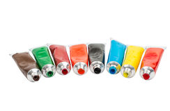 Tubes with acrylic paint Stock Photography