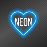 Tubes au néon sous forme de coeur d'isolement sur une grille foncée de transparent illustration libre de droits