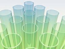 Tubes bleu-clair et verts d'essai en laboratoire sur le petit morceau Images libres de droits