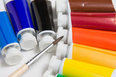 Tubes and brush Royalty Free Stock Images