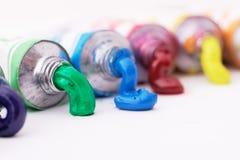 Tubes colorés de peinture Photos libres de droits