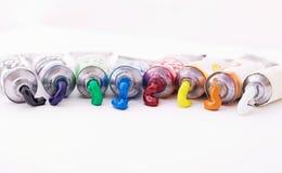 Tubes colorés de peinture Images libres de droits