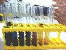 Tubes colorés multi dans le laboratoire biologique photographie stock libre de droits