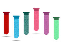 Tubes with colored liquids on a white background. Vials of vaccine, analyzes and viruses. Royalty Free Stock Photography