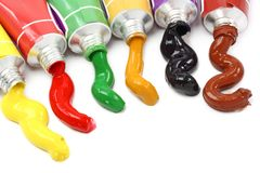 Tubes with colorful paints royalty free stock image
