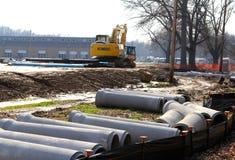 Tubes concrets souterrains de construction Images stock