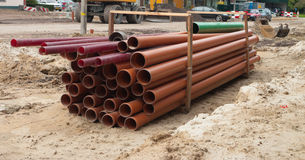 Tubes on construction site Stock Image