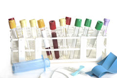 Tubes de collection de sang Photo stock
