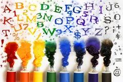 Tubes de peinture avec l'alphabet illustration libre de droits