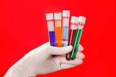 Tubes de test médical avec l'échantillon liquide sur le rouge Photographie stock libre de droits