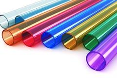 Tubes en plastique acryliques de couleur Photographie stock