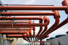 Tubes. Equipment used in running a modern office building water and air conditioning systems Stock Photo